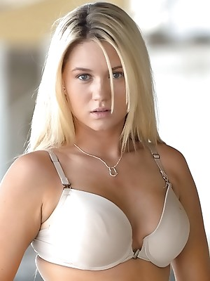 Alison Angel gets naked and plays