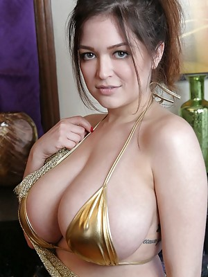 Tessa Fowler Big Natural Wonder Boobs in Gold Sexy Lingerie
