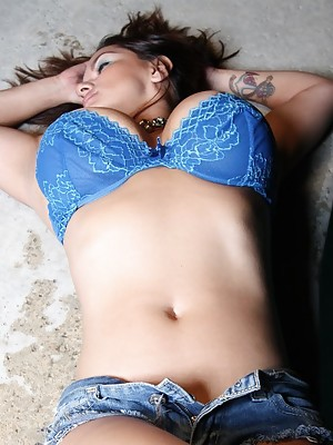 Monica Mendez night swimming pool side tease
